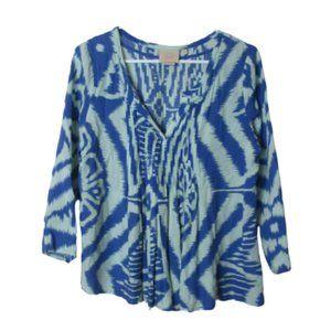 Anthro Vanessa Virginia blue tribal pleated blouse